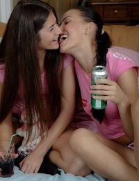 Hot brunettes having sex together