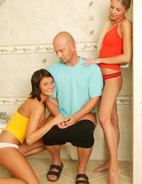 Two horny teenage hotties love sharing a crazy bald guy