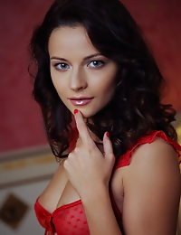 Ardelia A's smooth body and tight assets accentuated by her red lace lingerie.