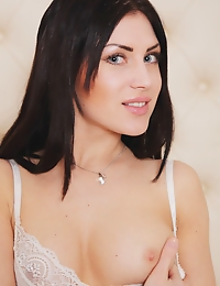"""""""Dark-haired Sasha Bree looks lusciously tempting in a sheer white lingerie that shows off her beautify body curves"""""""
